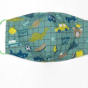 Wasbaar mondkapje voor kinderen met print