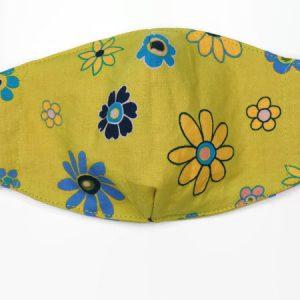 Wasbaar mondkapje kinderen met bloemenprint met filter