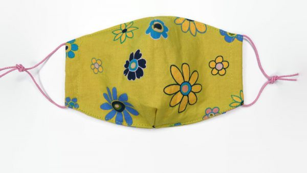 Wasbaar mondkapje kinderen met bloemenprint